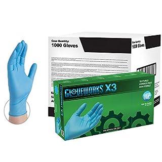 AMMEX - X3LB44102E0BX - Box of 100 - 3 mil Blue Industrial Nitrile Disposable Gloves - GLOVEWORKS - Powder Free, Latex Rubber Free, Medium