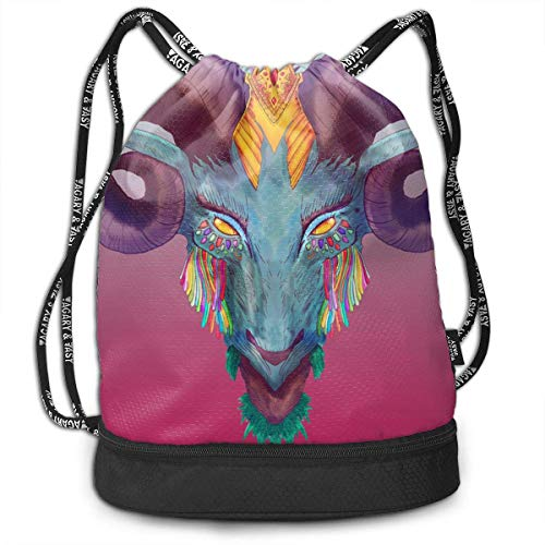 Bolsas de cuerdas,Bolsas de gimnasia,Mochilas tipo Casual, Funny Dance Gift Unisex Drawstring Fashion Beam Backpack Cool Aries Print Backpack Travel Gym Tote Cosmetic Bag