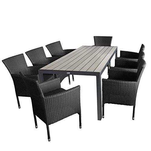 Ensemble de jardin 9 pièces table de jardin en aluminium et polywood plateau de table gris, 205 x 90 x 74 cm + 8 x Fauteuil en rotin, Rotin Synthétique, noir
