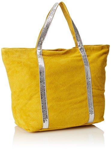 CTM Handtasche der Frau aus echtem weichem Wildleder in Italien - 43x34x18 Cm Gelb (Giallo)