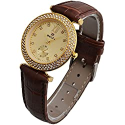 OUMOSI Crystal Dial Lady with Leather Strap Waterproof Quartz Watches