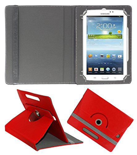 ACM ROTATING 360° LEATHER FLIP CASE FOR SAMSUNG GALAXY TAB 3 T211 P3200 P3210 TABLET STAND COVER HOLDER RED  available at amazon for Rs.149