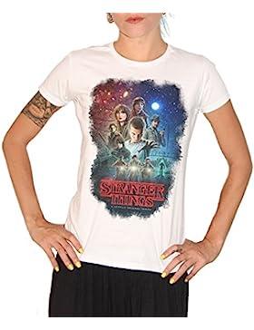 Camiseta Stranger Things Characters–by BRAIN Factory, Mujer, blanco, Damen-M