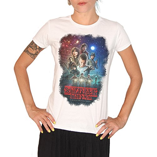 Brain Factory Camiseta Stranger Things Characters – by, Mujer, Blanco, Damen-M