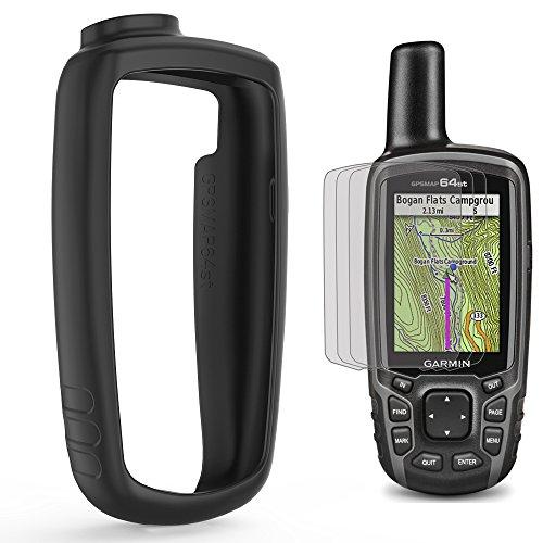 TUSITA Schutzhülle mit Displayschutz für Garmin GPSmap 62, 62s, 62st, 62sc, 62stc, 64, 64s, 64st, 64sc GPS Handnavigator, Ersatz Silikon Skin Cover Hülle Zubehör (Schwarz)