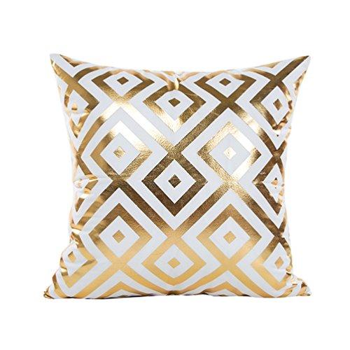 Yuanu Bronzieren Kissenhüllen Weiches Kissenbezug mit Geometrisch Gedruckt Kissenbezüge Bett Sofa Auto Dekor Diamant (45*45cm/18*18