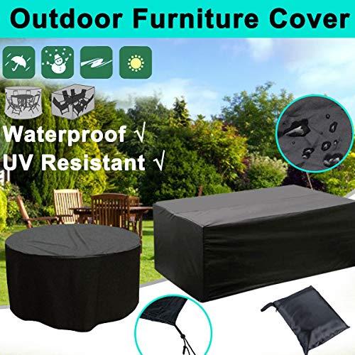 utdoor Gartenmöbel Abdeckung Wasserdicht Oxford Stoff Sofa Schutz Terrasse Wind Regen Schnee BBQ Staubdicht UV Schwarz 8XL ()