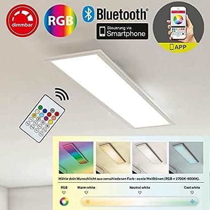 Briloner Leuchten Pannello luminoso a soffitto, luce da incasso, 18W, regolabile, controllo della temperatura del colore, controllo app, bluetooth, rettangolare, bianco, 59.5 cm, led, plastica;metallo