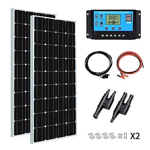 YUANFENGPOWER 200 watt 12 v Solarpanel Kit 2 stücke 100 watt 18 v Monokristalline Solarmodul + 20A PWM Solarregler für Boot, Wohnwagen, Wohnmobil, Camping, 12 V Ladegerät