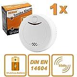 HEIMAN 10-Jahres Rauchmelder/Feuermelder / Brandmelder mit Status LED und fotoelektrischen Sensor - weiß - 1er-Set