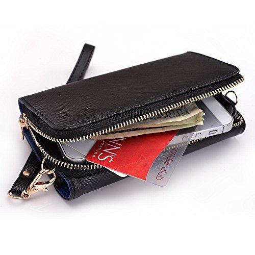 Kroo d'embrayage portefeuille avec dragonne et sangle bandoulière pour Smartphone Samsung Galaxy Ace Plus S7500 Noir/rouge Black and Blue
