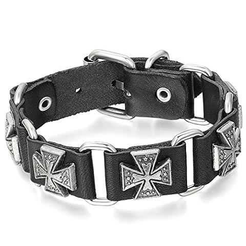 JewelryWe Bracelet Punk Rock Croix Gothique pour Homme Biker Chaîne
