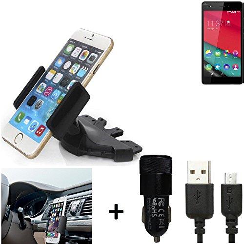 K-S-Trade® TOP SET para Wiko Pulp Fab Soporte Ranura de CD Smartphone coche para los dispositivos de navegación / teléfonos inteligentes montaje de la radio hecho smartphone teléfono móvil navegación GPS para Wiko Pulp Fab + CARGADOR