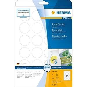Herma 5066 Movables Universal-Etiketten (Ablösbar / Selbstklebend zum Bedrucken, A4 Rund 40mm Papier Matt) 600 Stück weiß