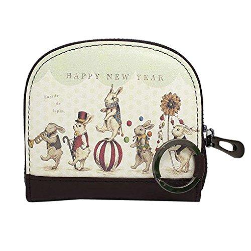 A : Kolylong Women Zipper Printing Clutch Wallet Short Card Holder Coin Purse Handbag (A)