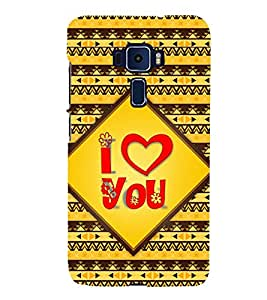 Fiobs Designer Back Case Cover for Asus Zenfone 3 Deluxe ZS570KL (5.7 Inches) (I Love You Quote Red)