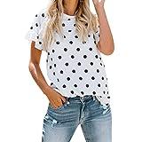 Saihui Damen Kurzarm Tops Sommer, Mode Frauen Casual Losen Rundhalsausschnitt Weiß T-Shirt Tops mit SchwarzT-Punkt Drucken (weiß, S)