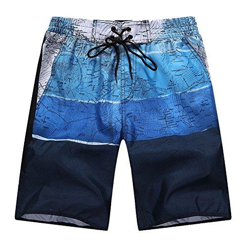Canvas-baumwoll-shorts (Minetom Herren Shorts Sporthose Boxershorts Badehose Swimsuits Jogginghose Sommer Bermudas Kurzhose Elastisch Schnell Boardshorts Gradient Farben Blau EU 2XL)