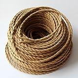 Cable eléctrico REACHYEA estilo antiguo, cuerda retorcida, trenzada, colgante, para luz o lámpara, (2x 0,75 mm)