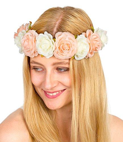 d, Haarreif, Kopfschmuck, Blumenkranz mit großen Blumen in rosa weiß, Festival, Oktoberfest, Reh Kostüm, Karneval (456-265) (Günstige Oktoberfest Kostüme)