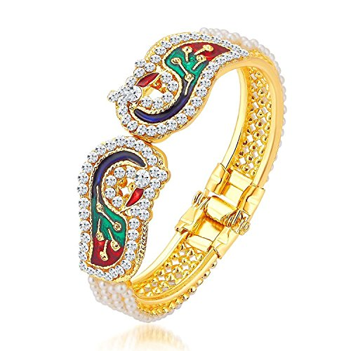 Zeneme Dancing Peacock Antique Gold Plated Bangles / Kada Jewellery for Women / Girls