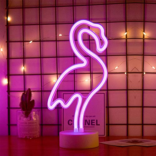 ENUOLI LED flamenco de neón muestras de la luz Los signos de neón Lámparas flamenco luces de neón de la decoración del sitio de la batería y USB Operación Luces de la noche con pedestal de neón rosad