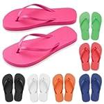 New Ladies Bright Beach Flip Flops -...