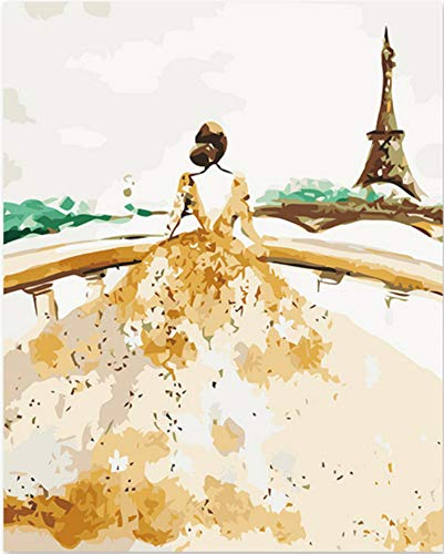 Dirart Unframed DIY Painting By Numbers Artistic Painting By Number Wedding Dresses In The Tower Of Paris Romantic Gift 40X50 Cm
