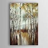 HY&GG Hand Gemalte Öl Paintinglandscape Abstract Das Wasser Der Birken Mit Gespannten Rahmen Größe 60*60 Cm {Gehören Innerer Rahmen}
