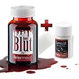 Halloween Set: 250ml Kunstblut + Latexmilch / MakeUp Schminke Vampir Zombie Blut