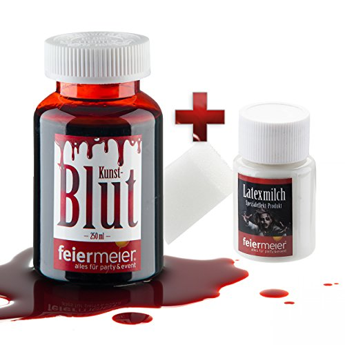 (Halloween Schmink-Set: 250ml Kunstblut + Latexmilch / MakeUp Schminke Vampir Zombie Blut - für Fasching, Halloween, Theater & Co.)
