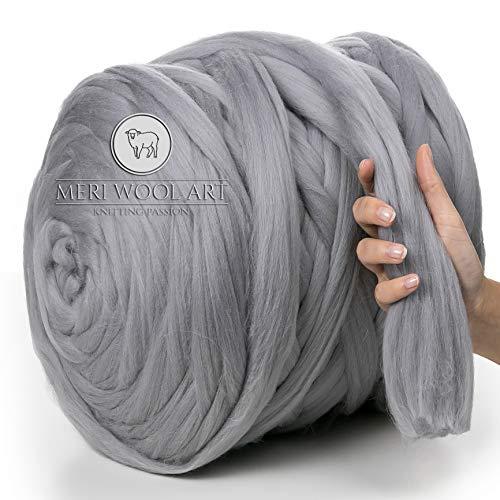 MeriWoolArt 100% Merinowolle zum Stricken & Häkeln mit 4-5 cm dickem Garn   Dicke Merino Wolle für XXL Schal, Decke & Kissen (Light Grey, 500g)