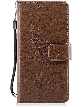 Honor 6C Hülle, Huawei Honor 6C Lederhülle, BONROY Flamingo Muster Schutzhülle PU Leder Flip Case Brieftasche...