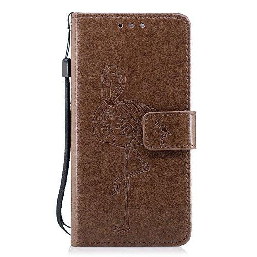 Huawei Honor 6C Hülle, Huawei Honor 6C Schutzhülle, Alfort Flamingos Lederhülle PU Leder Hülle Flip Cover Wallet Case für Huawei Honor 6C Smartphone Tasche Handytasche (Braun)