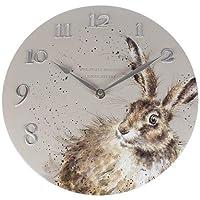 Wrendale Designs Hare Clock-30cm Diameter, Hard Resin, Soft Grey, 35 x 33 x 6 cm
