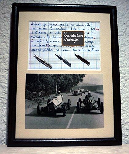 Tableau avec photo ancienne et texte sur les pilotes de course automobile.