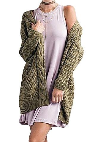 ELFIN® Femme Gilets manche longue cardigan en tricot casual sweaters avec poches pull veste sans bouton