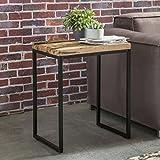 Wohnling Beistelltisch BELLARY 51x38x65 cm Massivholz Tisch mit Metallgestell | Industrie Couchtisch Eckig Modern Holztisch mit Metallbeinen | Loft Wohnzimmertisch Modern