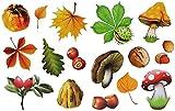 16 Stück: Fensterbilder Herbst - Blätter Pilze Kastanien und Herbstfrüchte - Sticker _ statisch haftend wiederverwendbar _ Fenstersticker Aufkleber selbstklebend - Fensterbilder - Glassticker