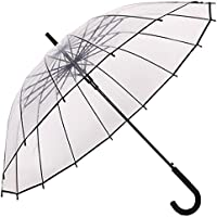 Paraguas Transparente,Paraguas de mango largo,Auto abierto, forma de la bóveda de