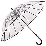 Transparent Regenschirm,Transparent Stick Regenschirme,Automatisch öffnen, Fashion Dome Form, Stark Wind Widerstand, Geeignet für 2 Personen verwenden, Transparente und schwarze Grenze
