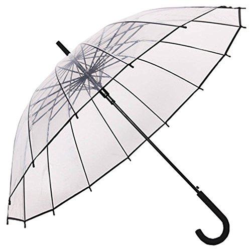 Paraguas Transparente,Paraguas de Mango Largo,Auto Abierto, Forma de la bóveda de la Manera, Resistencia Fuerte del Viento, Conveniente para el Uso de 2 Personas, Transparente y Negra Frontera