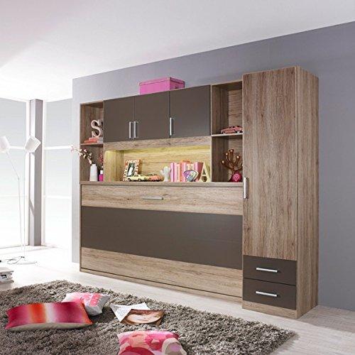 Funktionsbett Susi + Schrankwand 90 * 200 cm Eiche Sanremo grau Kleiderschrank Kinderbett Jugendbett...