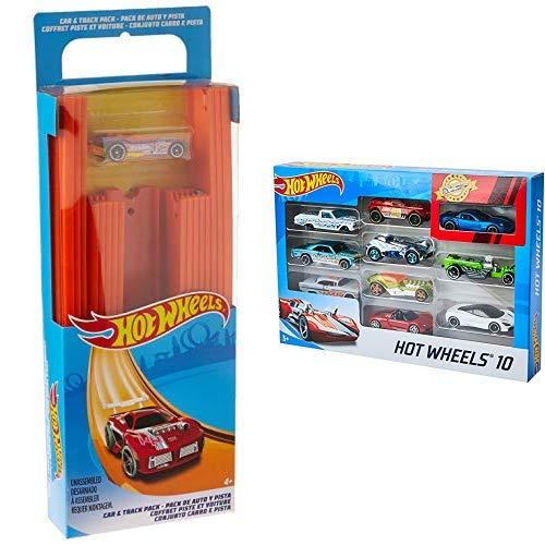 Hot Wheels BHT77 Track Builder Gerade Rennbahn Set, Trackset Zubehör &  Wheels 54886 1:64 Die-Cast Auto Geschenkset, je 10 Spielzeugautos, zufällige Auswahl, Spielzeug Autos ab 3 Jahren, 10er Pack