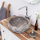 wohnfreuden Marmor Waschbecken 50 cm ✓ groß rund grau ✓ Naturstein Waschplatz Handwaschbecken Steinwaschschale Naturstein-Aufsatzwaschbecken für Ihr Bad ✓ schnell