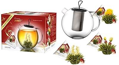 Mix de fleurs de thé Creano en taille XXL, coffret cadeau avec pot en verre Jumbo 1,5L (tamis en Inox incus) - thé blanc (3 sortes différentes)