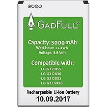 GadFull® Akku für LG G3   2017 Baujahr   Entspricht dem original BL-53YH   Lithium-Ionen-Akku der Modelle LG G3 D830   D851   D855   LS990   Ersatz Handy-Akku für Ihr Smartphone   Perfekt als Ersatz-Akku
