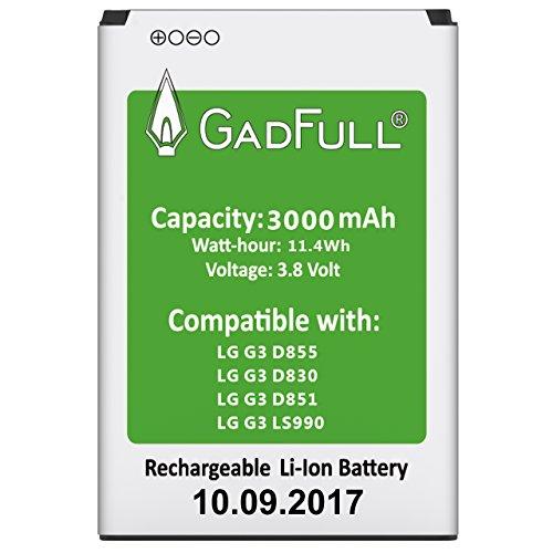 G3-ersatz-akku (GadFull® Akku für LG G3 | 2017 Baujahr | Entspricht dem original BL-53YH | Lithium-Ionen-Akku der Modelle LG G3 D830 | D851 | D855 | LS990 | Ersatz Handy-Akku für Ihr Smartphone | Perfekt als Ersatz-Akku)