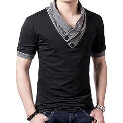 Tefamore Camiseta de manga corta para hombre Ajustado Cuello V Ocasionales Deporte (Tamaño:L, negro)