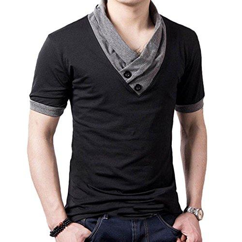 tefamore-camiseta-de-manga-corta-para-hombre-ajustado-cuello-v-ocasionales-deporte-tamanoxxxl-negro